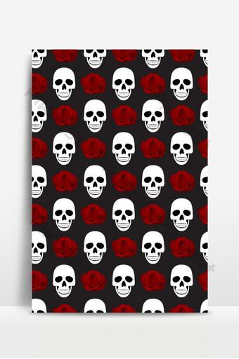 Patrón sin fisuras de calavera y rosas sobre fondo negro Fondo de calavera de halloween Fondos Modelo EPS