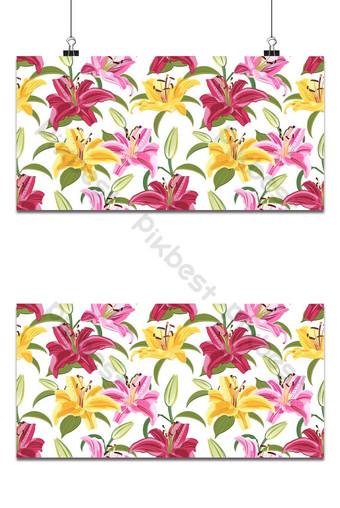 flor de lirio de patrones sin fisuras sobre fondo blanco amarillo rojo y rosa lirio floral vector Fondos Modelo EPS