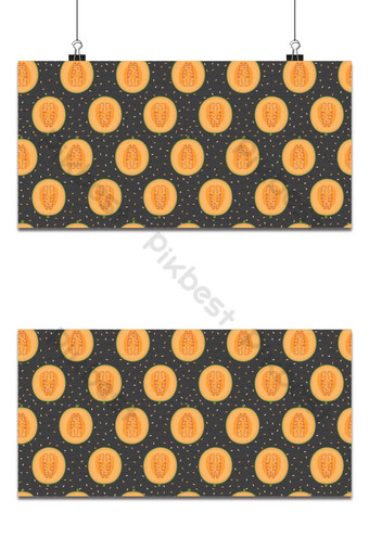 Melon half seamless pattern on black background with seed, Fresh cantaloupe melon pattern Backgrounds Template EPS
