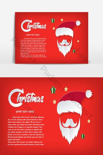 Carte rouge Noël Père Noël papier découpé chapeau moustache et barbe du Père Noël Éléments graphiques Modèle EPS