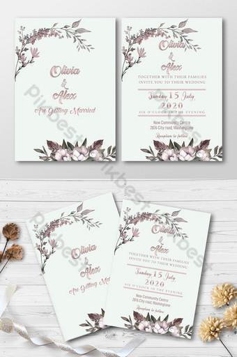 tarjeta de invitación de boda de flores psd Modelo PSD