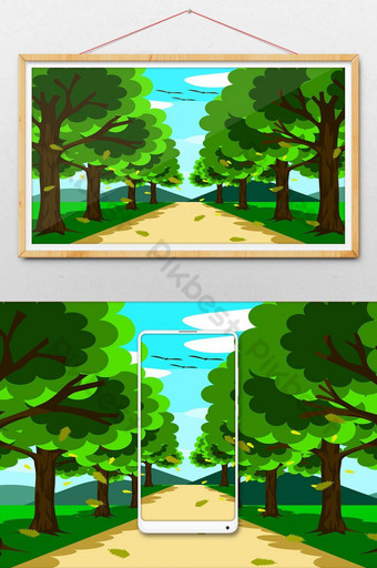 un pequeño camino hermoso rodeado de naturaleza a ambos lados hay árboles Ilustración Modelo AI