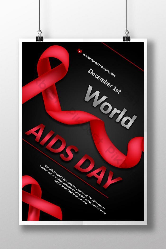 Плакат Всемирного дня борьбы со СПИДом с наклонной лентой