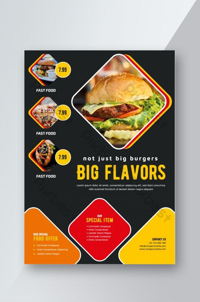 mẫu thiết kế tờ rơi quảng cáo nhà hàng thức ăn nhanh