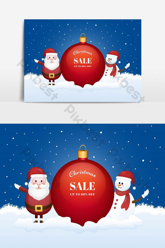 Christmas sale season banner with Santa Claus and snowman on winter background. PNG Images Template EPS