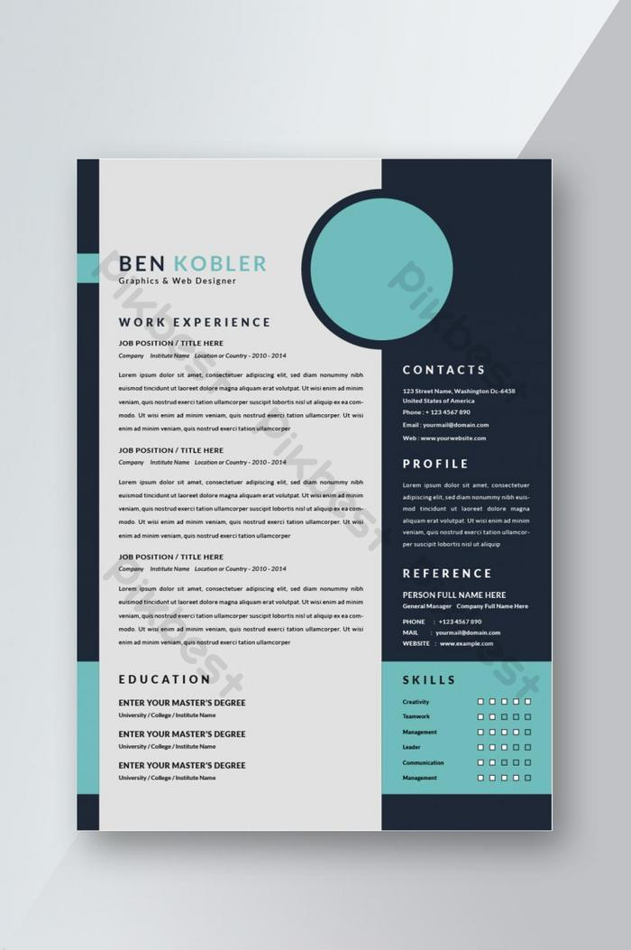 reka bentuk templat cv resume moden untuk temu ramah