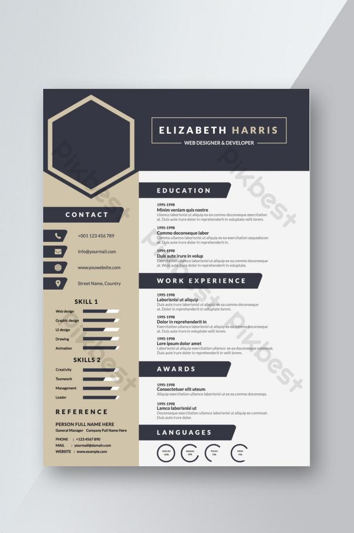 Navy Blue creative Resume CV template Design for interview ...