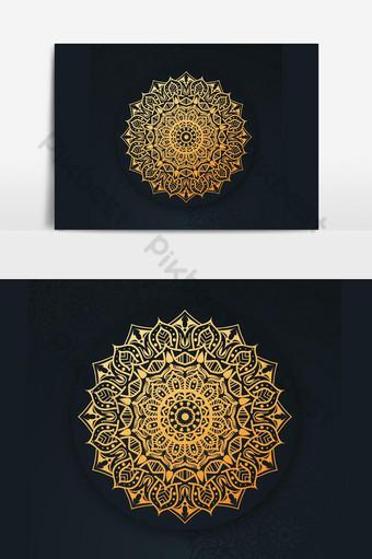فن ماندالا الفاخر مع خلفية أرابيسك ذهبي الطراز العربي الإسلامي الشرقي صور PNG قالب AI