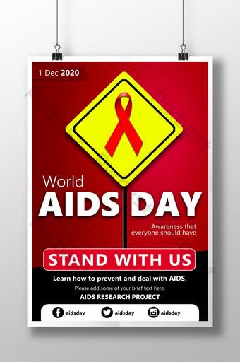 cartel rojo y amarillo del día del sida de la señal de tráfico Modelo PSD