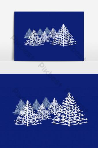 árbol de pino cubierto de nieve png gráfico Elementos graficos Modelo PSD