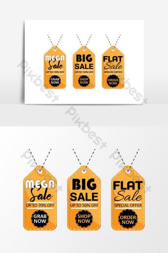 علامة البيع الضخمة أسود ذهبي أبيض صور PNG قالب AI
