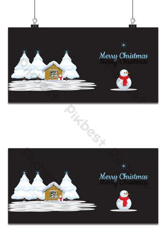 Paysage de Noël moderne avec bonhomme de neige vecteur gratuit Fond Modèle AI