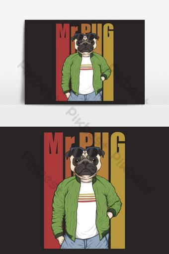 Ilustración de vector de moda de perro pug Elementos graficos Modelo EPS