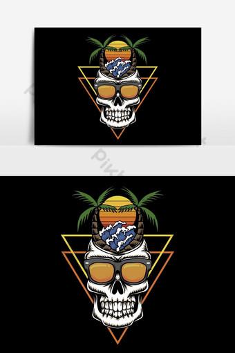 cráneo, vacaciones, playa, ocaso, retro, vector, ilustración Elementos graficos Modelo EPS