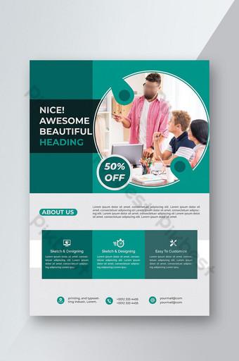 Brochure commerciale Flyer Design Dépliants a4 Modèle de couverture de livre et de magazine Rep annuel Modèle AI