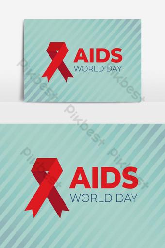 día mundial del sida con elemento gráfico de vector de diseño de cinta Elementos graficos Modelo AI