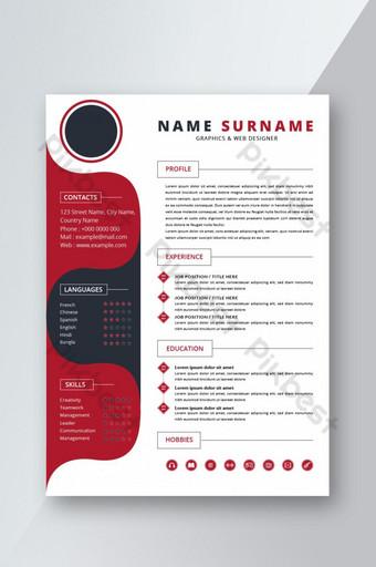 Mẫu CV sơ yếu lý lịch sáng tạo màu đỏ đen cho cuộc phỏng vấn Word Bản mẫu DOC
