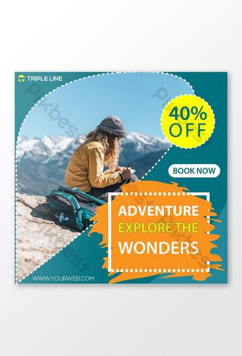 세계 여행 소셜 미디어 포스트 배너 템플릿 EPS