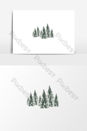 árbol de navidad con png cubierto de nieve Elementos graficos Modelo PSD