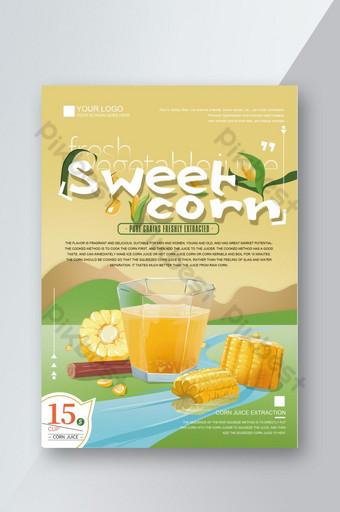 Illustration originale dessinée à la main recette de menu de boisson chaude de jus de maïs Commande de boissons Liste de prix Modèle PSD
