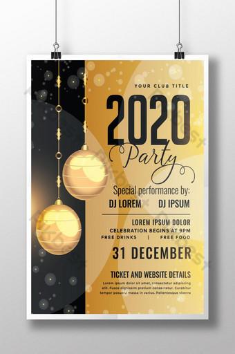 Modèle de flyer de fête d'or du nouvel an 2020 Modèle AI