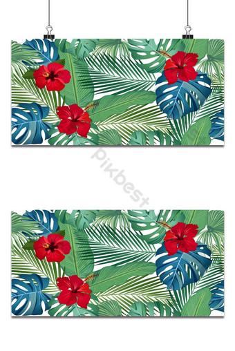 سلس نمط مكافحة ناقلات الأوراق الاستوائية مع زهرة الكركديه الأحمر على خلفية بيضاء خلفيات قالب EPS
