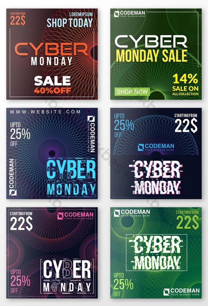 Сообщение в социальных сетях о продаже технологий в геометрический киберпонедельник