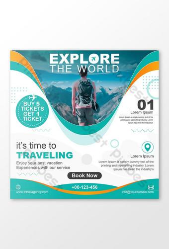 세계 여행 소셜 미디어 포스트 배너 디자인 탐색 템플릿 EPS
