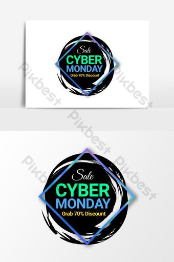 Cyber Monday venta banner promoción png transparente Elementos graficos Modelo PSD