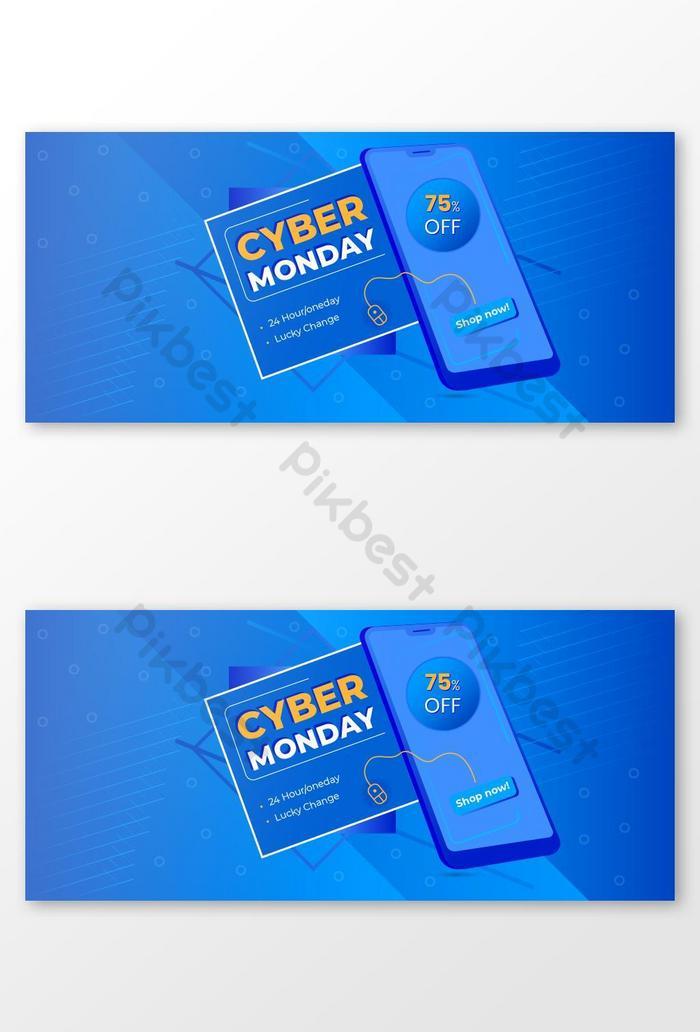 Шаблон оформления баннера концепции cyber monday