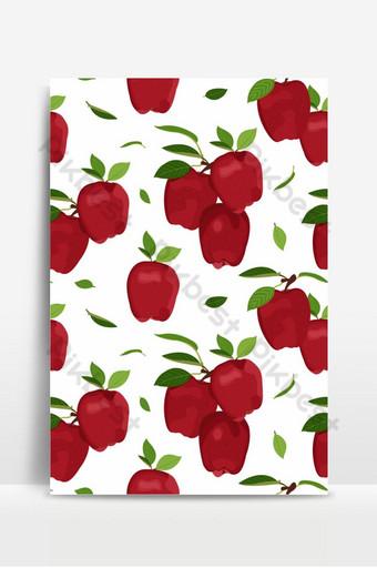 Manzana de patrones sin fisuras con hojas sobre un fondo blanco vector de frutas de manzanas rojas Fondos Modelo EPS