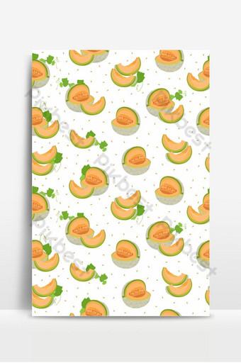 Patrón sin fisuras de rebanada de melón sobre fondo blanco con patrón de melón melón fresco de semilla Fondos Modelo EPS