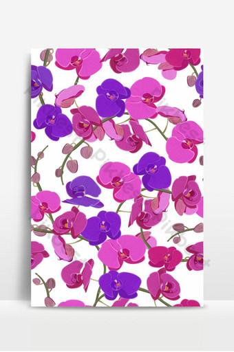 orquídea rosada y morada floral de patrones sin fisuras flores flor follaje ramo Fondos Modelo EPS