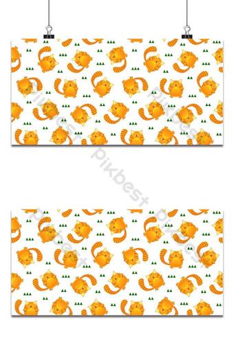 Patrón transparente lindo gato rayas de tigre sobre fondo blanco vector de estilo de diseño de niño Fondos Modelo EPS