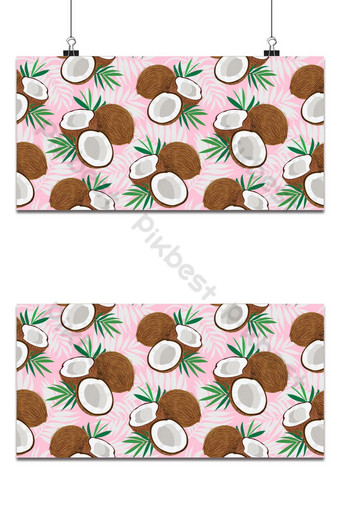 Seamless pattern whole coconut and piece with palm leaves on pink background, Vector Backgrounds Template EPS