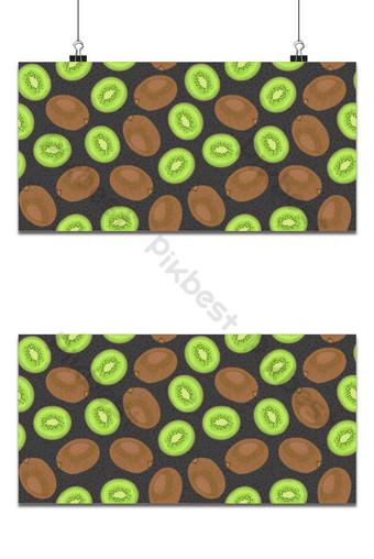 kiwi de fruta entera de patrones sin fisuras y pieza con semilla en vector de fondo negro Fondos Modelo EPS