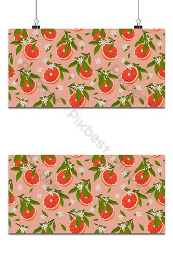 Frutas de naranja rebanada de patrones sin fisuras con flores y hojas sobre fondo rosa Fondos Modelo EPS