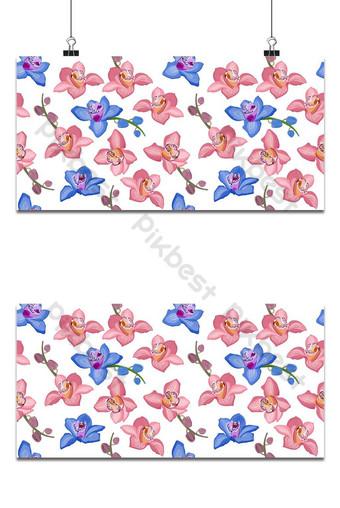 Orquídea rosa y azul floral de patrones sin fisuras flores florecen follaje en flor en blanco Fondos Modelo EPS