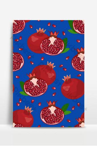 Patrón sin fisuras de frutas y semillas de granada sobre fondo azul rojo de alimentos orgánicos frescos Fondos Modelo EPS