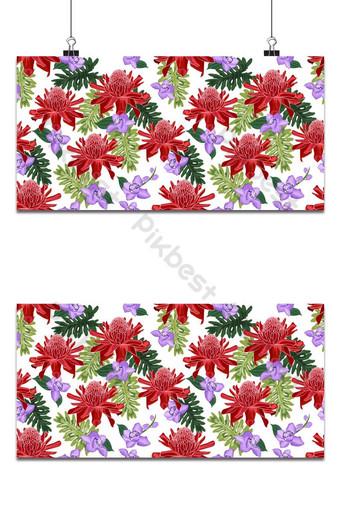 Antorcha roja jengibre de patrones sin fisuras con orquídea púrpura sobre fondo blanco. Fondos Modelo EPS