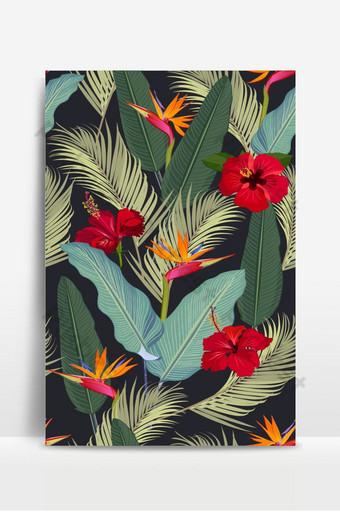 أوراق الاستوائية نمط سلس مع زهرة الكركديه الأحمر وطائر الجنة على الأسود خلفيات قالب EPS