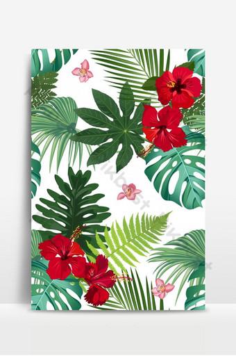 Patrón de vector transparente hojas tropicales con flor de hibisco rojo y orquídea rosa sobre blanco Fondos Modelo EPS