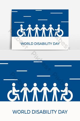 장애인 사람 아이콘으로 세계 장애인의 날 일러스트 템플릿 AI