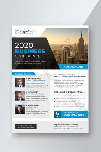 Flyer de conférence d'entreprise A4 bleu Modèle PSD