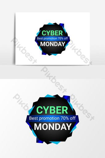 elemento png de banner de venta de cyber monday Elementos graficos Modelo PSD