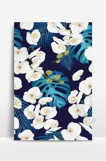 Patrón transparente floral orquídea blanca con hojas tropicales sobre fondo blanco. Fondos Modelo EPS