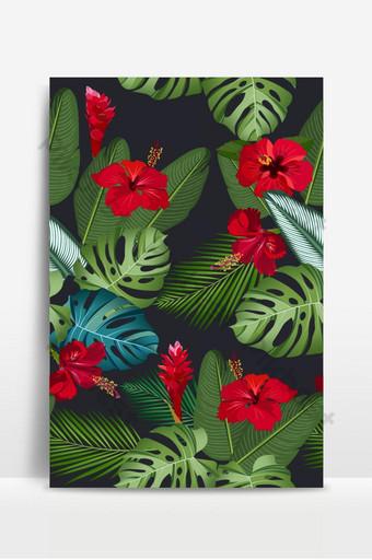أوراق الاستوائية نمط سلس مع زهرة الكركديه الأحمر وزهرة الزنجبيل على الأسود خلفيات قالب EPS