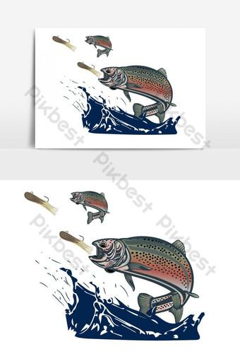 pez trucha arcoiris con vector de cebos de tubo Elementos graficos Modelo AI