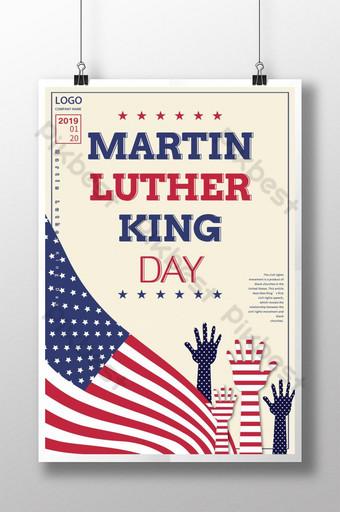 cartel del día de martin luther king americano rojo blanco azul Modelo PSD