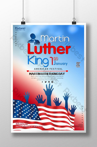 cartel promocional del día de martin luther americano rojo blanco azul Modelo PSD
